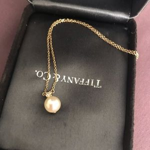 18k Gold Tiffany Pearl Diamond Necklace